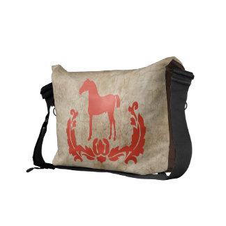 Red and brown Damask Horse Messenger Bag