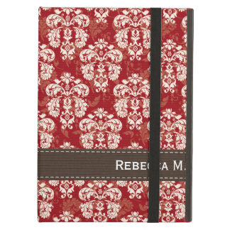 Red and Brown Damask iPad Folio Cases