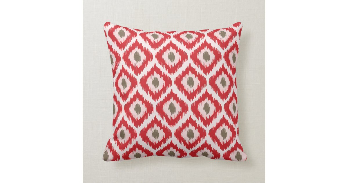 Red And Brown Diamond Ikat Pattern Throw Pillow Zazzle