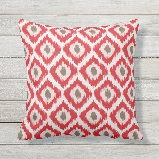 red and brown diamond ikat pattern throw pillow zazzle. Black Bedroom Furniture Sets. Home Design Ideas
