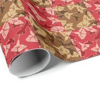 Red And Brown Fall Colors Autumn Floral Pattern Wrapping Paper