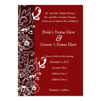 Red and Brown Floral Wedding Invitation