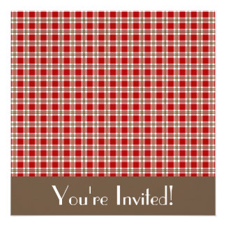 Red and Brown Gingham Invitation