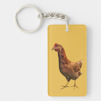Red and Brown Hen Chicken Keychain