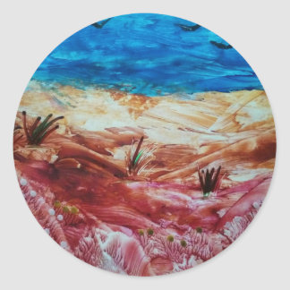 Red and brown landscape classic round sticker