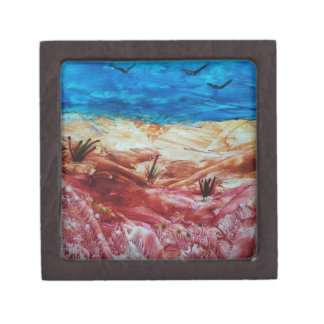 Red and brown landscape jewelry box