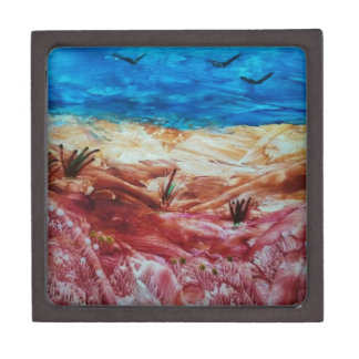 Red and brown landscape keepsake box