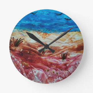 Red and brown landscape round clock