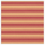 [ Thumbnail: Red and Brown Lined Pattern Fabric ]