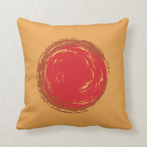 Dark Orange Decorative Pillows : red and brown painted circles on dark yellow throw pillow Zazzle