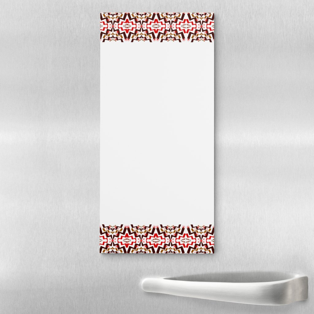 Red and Brown Pattern Magnet Fridge Notepad