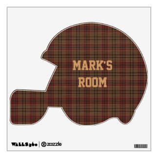 Red and Brown Plaid Football Helmet Wall Sticker