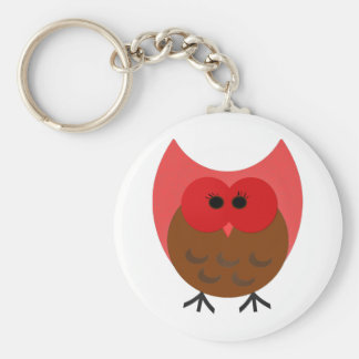 Red and Brown Plump Vector Art Owl Basic Round Button Keychain