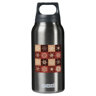 Red And Brown Snowflakes Pattern Insulated Water Bottle