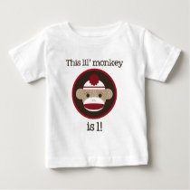 Red and Brown Sock Monkey: First Birthday Tee