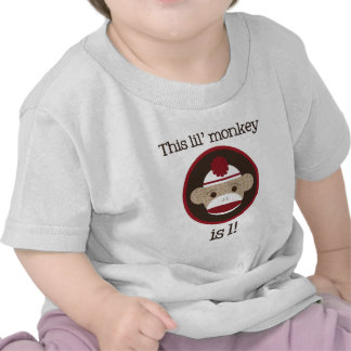 Red and Brown Sock Monkey First Birthday Tee