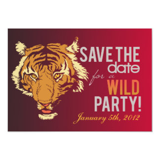 """Red and Brown Wild Party 5"""" X 7"""" Invitation Card"""
