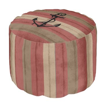 Beach Themed Red and Brown Wood Stripes with Nautical Anchor Pouf