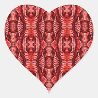Red and Burgundy Organic Pattern Heart Sticker
