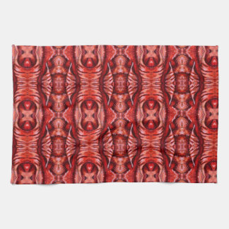 Red and Burgundy Organic Pattern Kitchen Towel