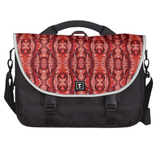 Red and Burgundy Organic Pattern Bag For Laptop