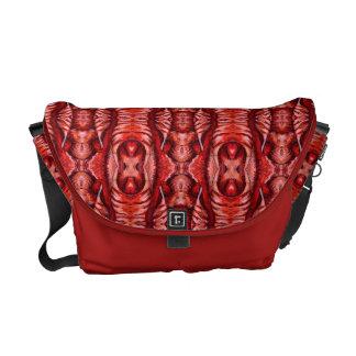 Red and Burgundy Organic Pattern Messenger Bag