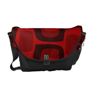Red and Burgundy Retro Pattern Medium Messenger Messenger Bag