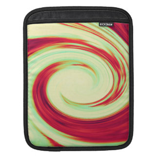 Red and Celadon Green Wave Spiral iPad Sleeve