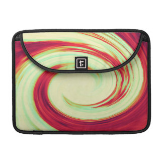 Red and Celadon Green Wave Spiral MacBook Pro Sleeve