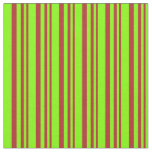 [ Thumbnail: Red and Chartreuse Colored Lined Pattern Fabric ]