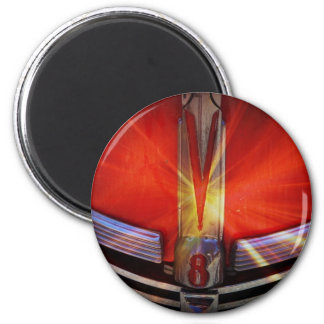 Red and Chrome V8 2 Inch Round Magnet