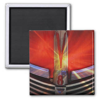 Red and Chrome V8 2 Inch Square Magnet
