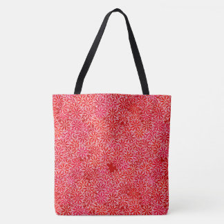 Red and coral flowers, dark red background tote bag