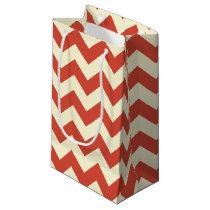 Red and Cream Chevron Zigzag Pattern Gift Bag