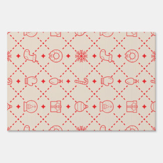 Red and Cream Christmas Symbols Seamless Pattern Sign