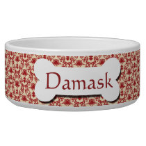 Red and Cream Damask Pattern Bowl
