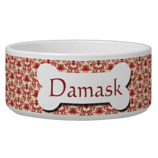 Red and Cream Damask Pattern Dog Water Bowls