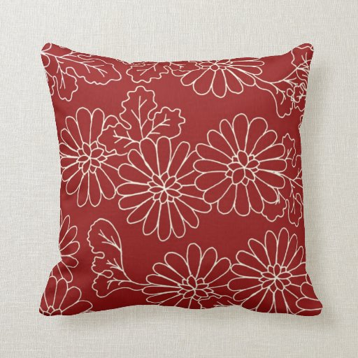 Cream Floral Throw Pillows : Red and Cream Floral Decorative Pillow Zazzle