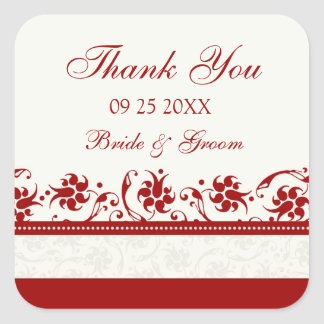 Red and Cream Floral Thank You Wedding Favor Tags Square Sticker