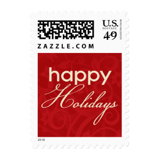 Red and Cream Happy Holidays Postage Stamp