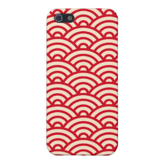 Red and cream Japaneese abstract wave pattern case