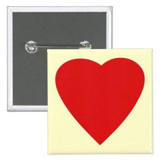 Red and Cream Love Heart Design. 2 Inch Square Button