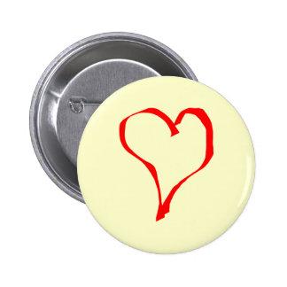 Red and Cream Love Heart Design. 2 Inch Round Button