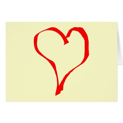 Red and Cream Love Heart Design. Card