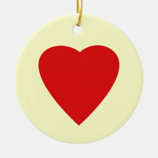 Red and Cream Love Heart Design. Ceramic Ornament