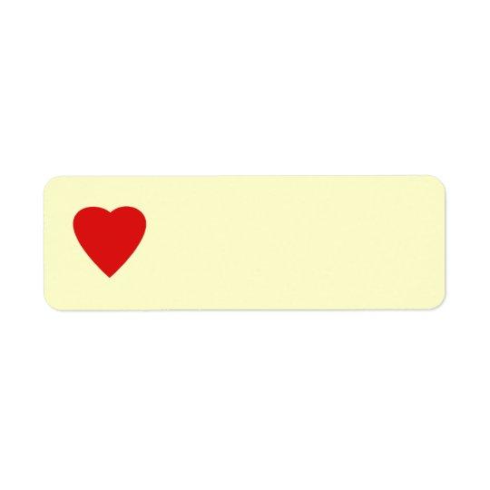 Red and Cream Love Heart Design. Label