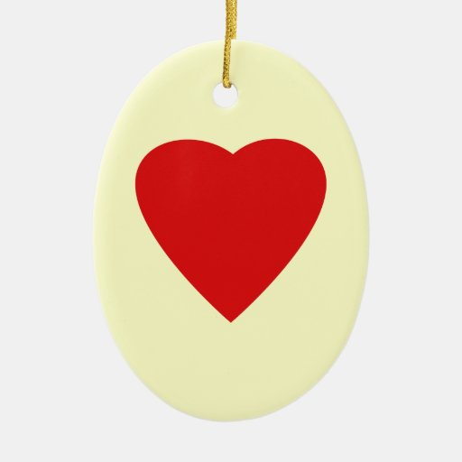 Red and Cream Love Heart Design. Double-Sided Oval Ceramic Christmas Ornament