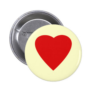Red and Cream Love Heart Design. Pinback Button