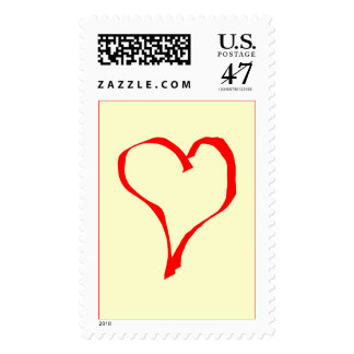 Red and Cream Love Heart Design. Postage