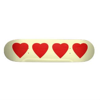 Red and Cream Love Heart Design. Skateboard